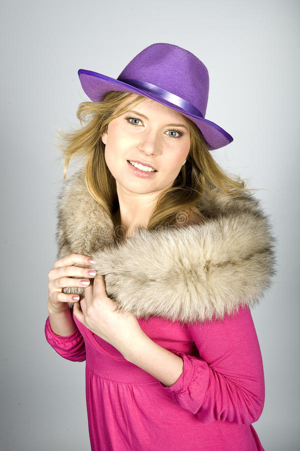 Beautiful Elegant Woman With Hat And Fur Stock Image