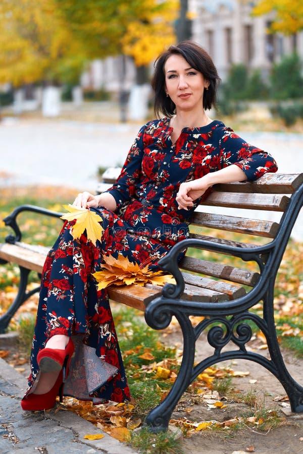 Beautiful elegant woman posing in a city street, autumn season stock photography