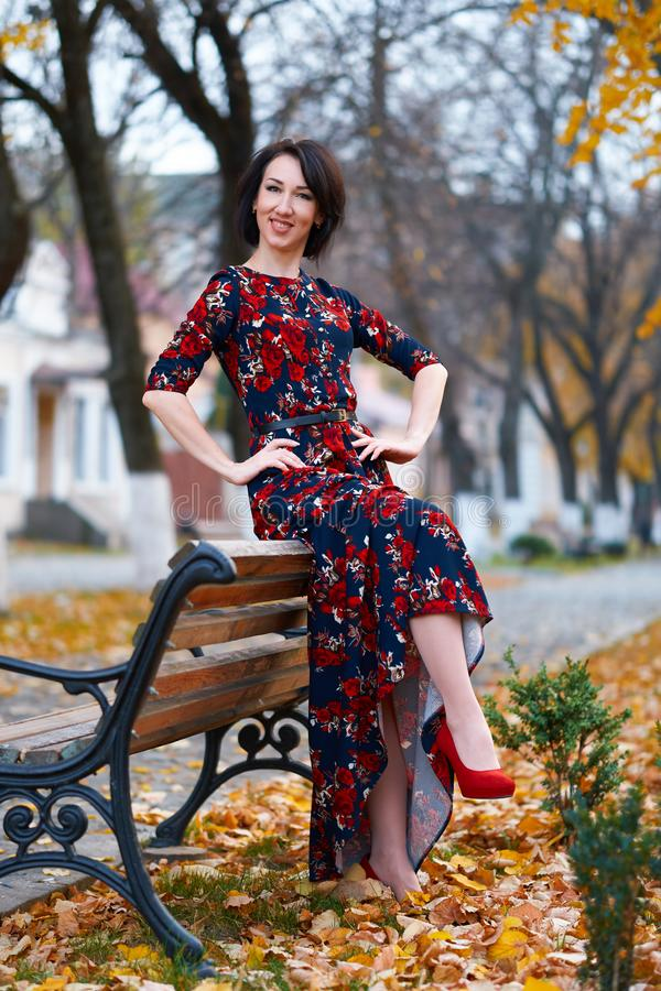 Beautiful elegant woman posing in a city street, autumn season stock photos