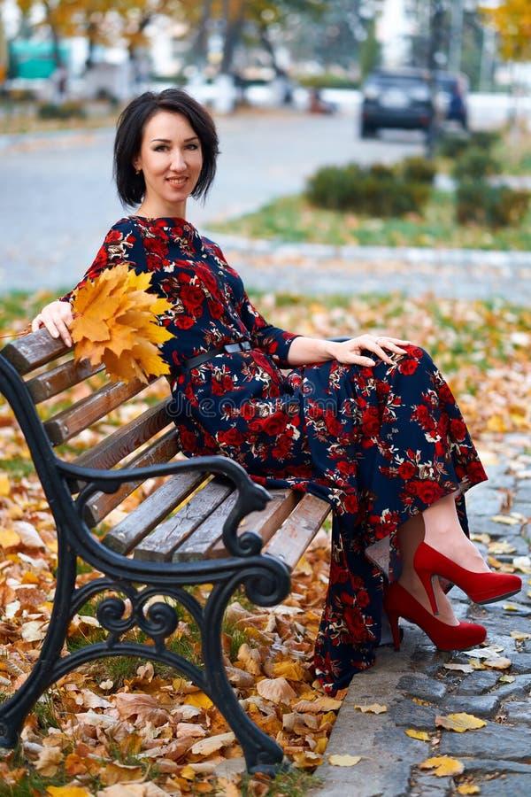 Beautiful elegant woman posing in a city street, autumn season royalty free stock image