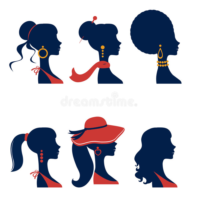 Beautiful elegant women silhouettes set vector illustration