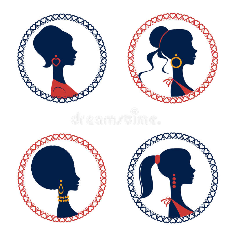 Beautiful elegant women silhouettes set royalty free illustration
