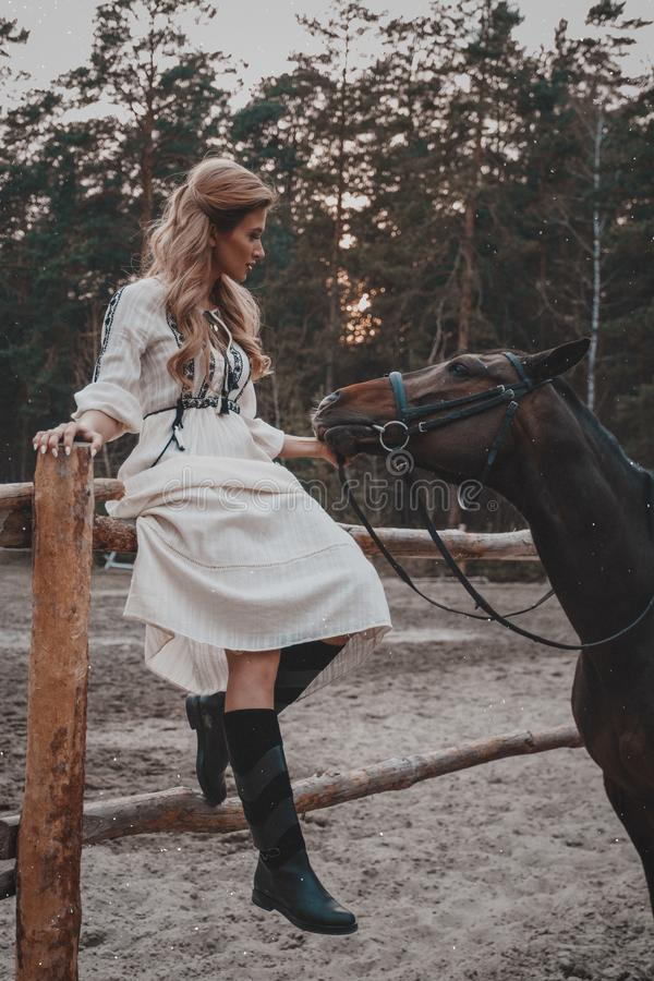 Beautiful and elegant young woman wearing the dress is stroking the horse on the ranch royalty free stock image