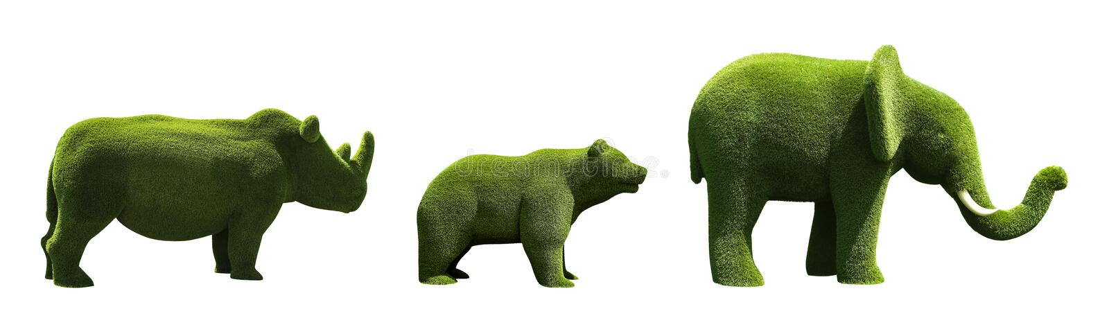 Beautiful elephant, bear and rhinoceros shaped topiaries isolated. Landscape gardening. Beautiful elephant, bear and rhinoceros shaped topiaries isolated on royalty free stock images