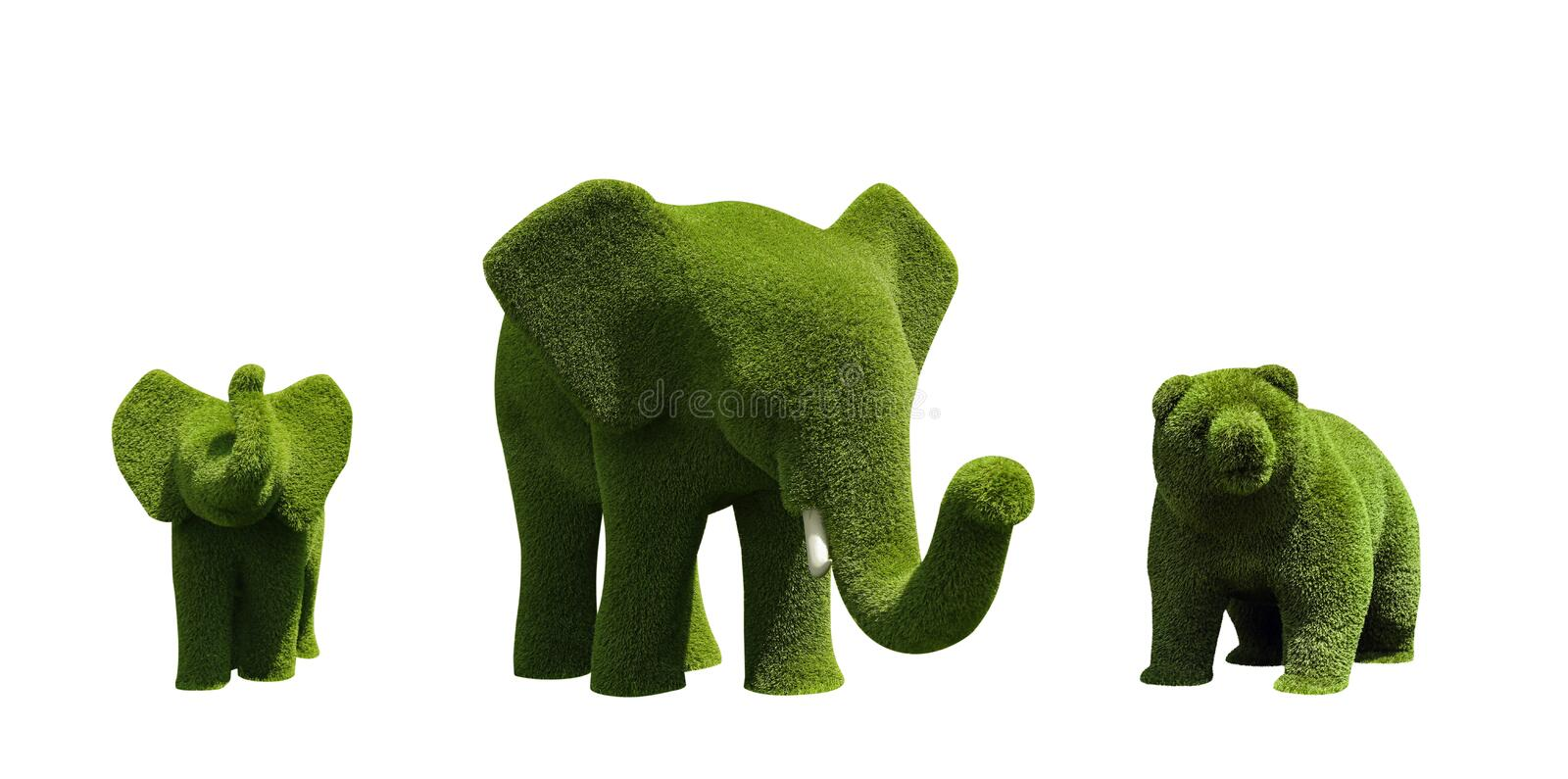 Beautiful elephant and bear shaped topiaries isolated. Landscape gardening. Beautiful elephant and bear shaped topiaries isolated on white. Landscape gardening royalty free stock photography