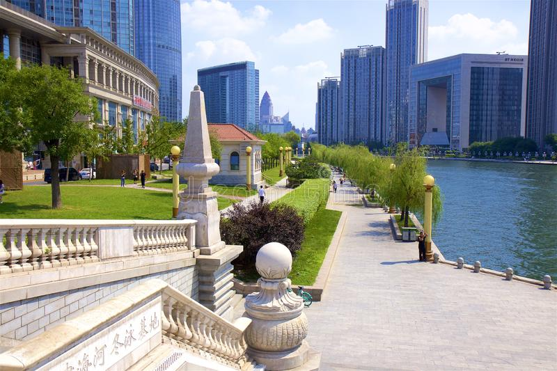 Beautiful embankment in Tianjin, China. Walking along the river in Tianjin, China royalty free stock image