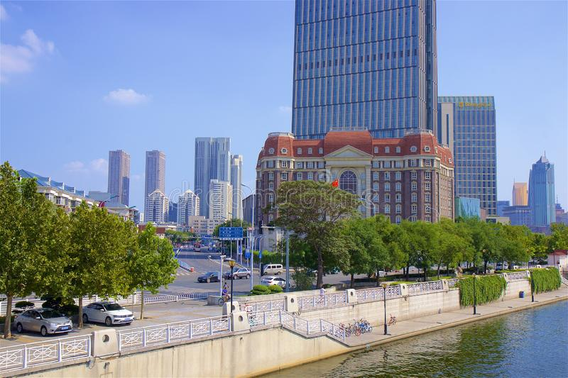 Beautiful embankment in Tianjin, China. Walking along the river in Tianjin, China stock photography
