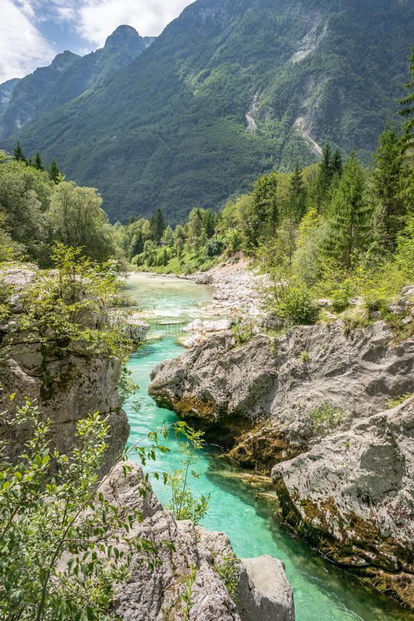 Velika Korita or Great canyon of Soca river near Bovec, Slovenia. Beautiful vivid turquoise river stream in Triglav National Park stock photography