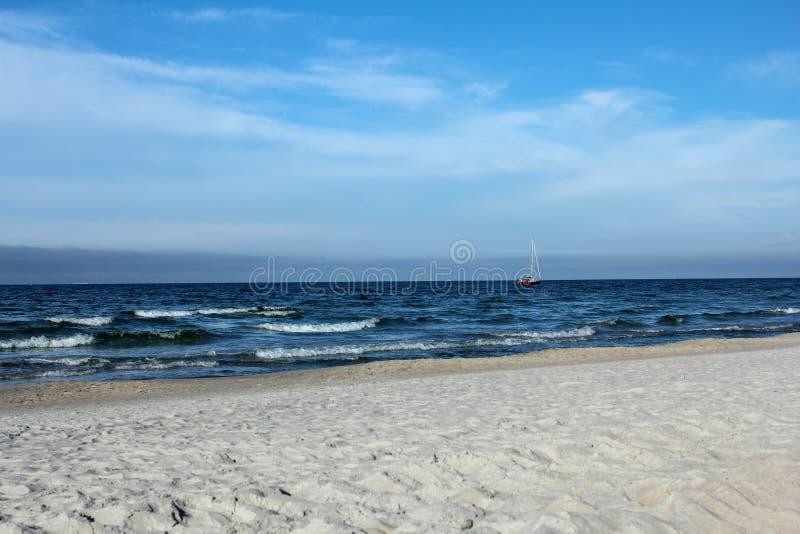 Beautiful empty beach in Jastarnia, Poland. Baltic Sea stock photo
