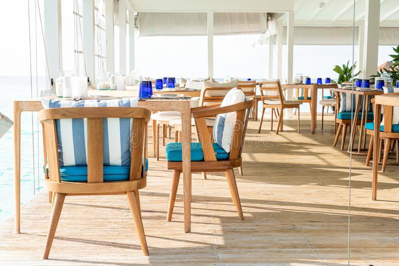 empty table and chair decoration in restaurant royalty free stock images