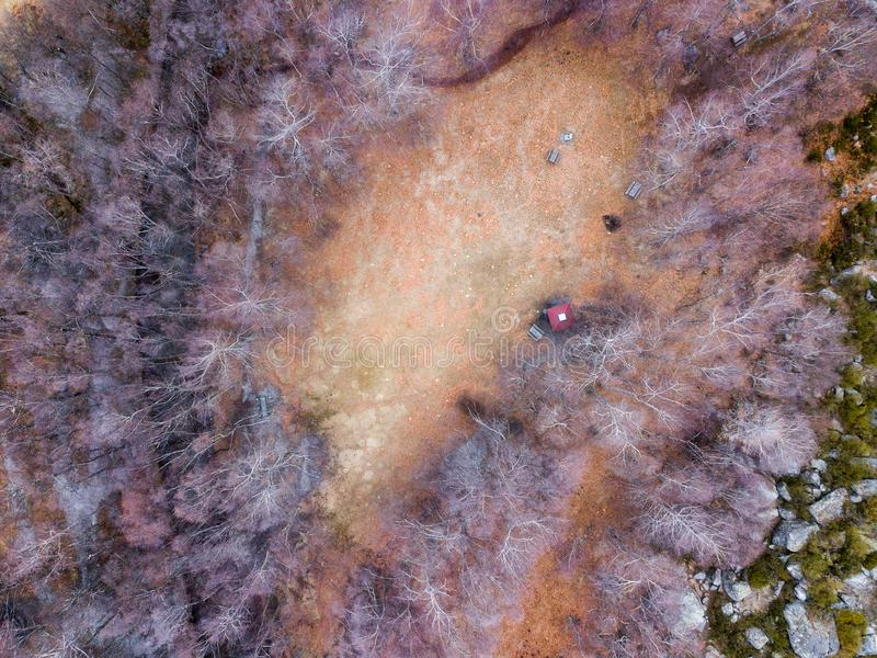 Beautiful enchanted forest landscape by drone. Beautiful enchanted forest landscape. Aerial photography captured by drone. Covão da Ametade, Serra da Estrela royalty free stock images