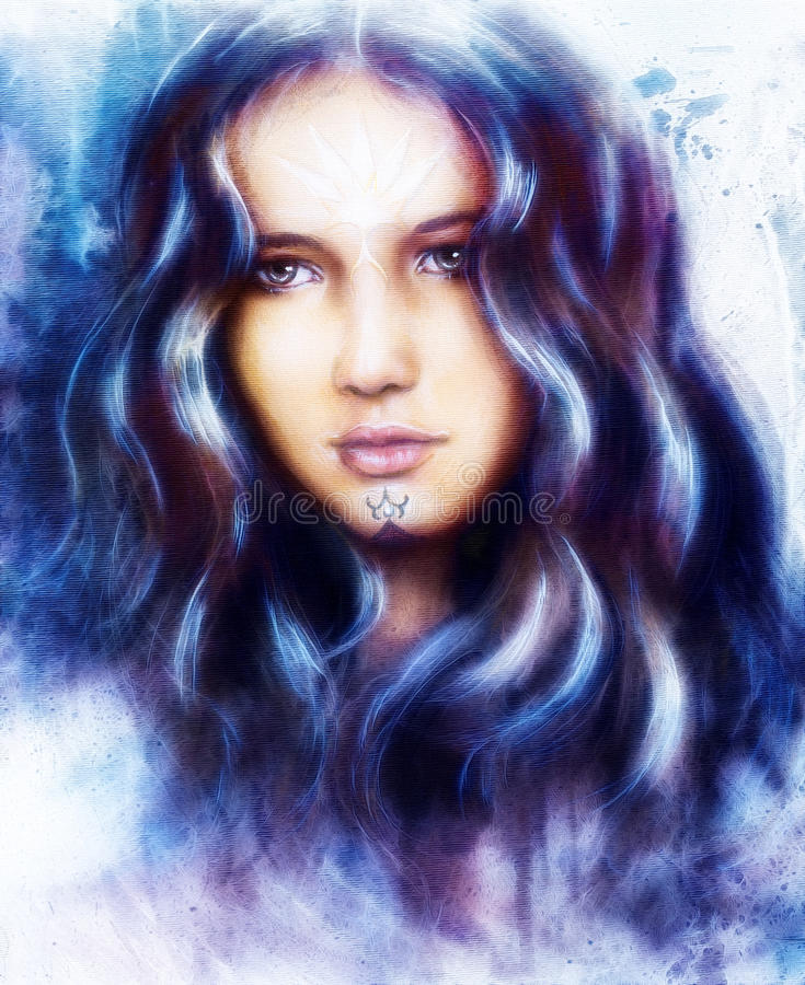 Beautiful enchanting woman face with structure color backgroun. Enchanting woman face with structure colour background and fractal effect vector illustration