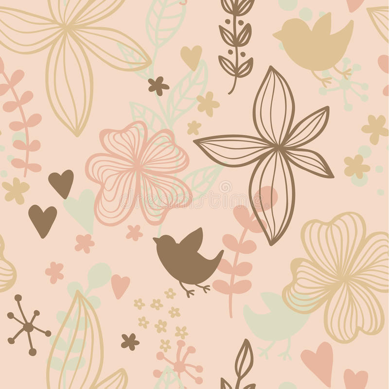 Download Cute Seamless Pattern With Flowers And Birds. Abstract Floral Background. Vector Illustration Stock Images - Image: 30040494