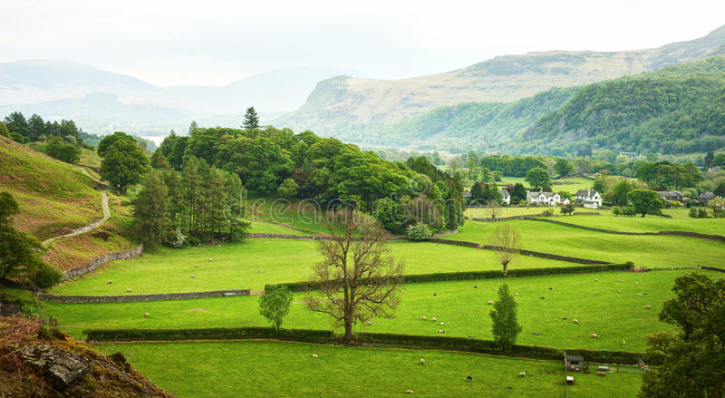 Beautiful English countryside in spring, Lake District, Cumbria, England, UK royalty free stock photos