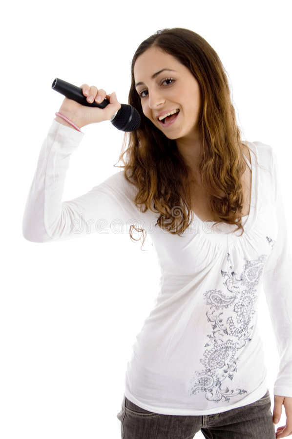 beautiful enjoying female singer singing στοκ εικόνες