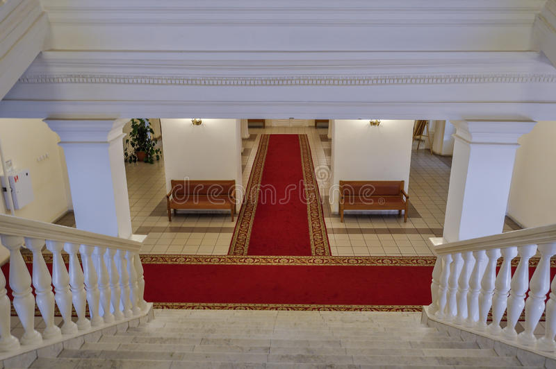 Beautiful entrance hall in the interior of the Art Museum of Veliky Novgorod, Russia royalty free stock photography