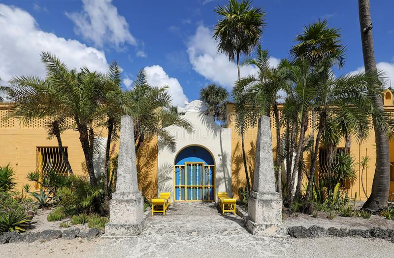 Beautiful entrance way to the Bonnet House. Main entrance to the Bonnet House Museum & Gardens in Fort Lauderdale, Florida, USA royalty free stock images