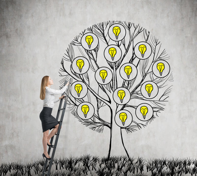 A beautiful entrepreneur is climbing to the drawn tree with light bulbs. A concept of new business ideas for start up. Concrete ba royalty free stock image