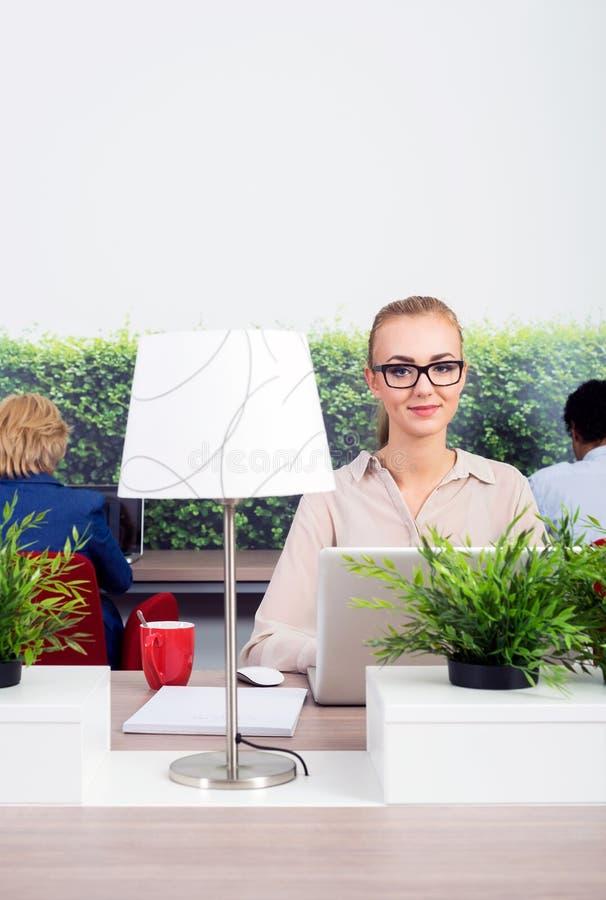 Beautiful Environmentalist In Office. Portrait of beautiful environmentalist sitting at desk in office stock image
