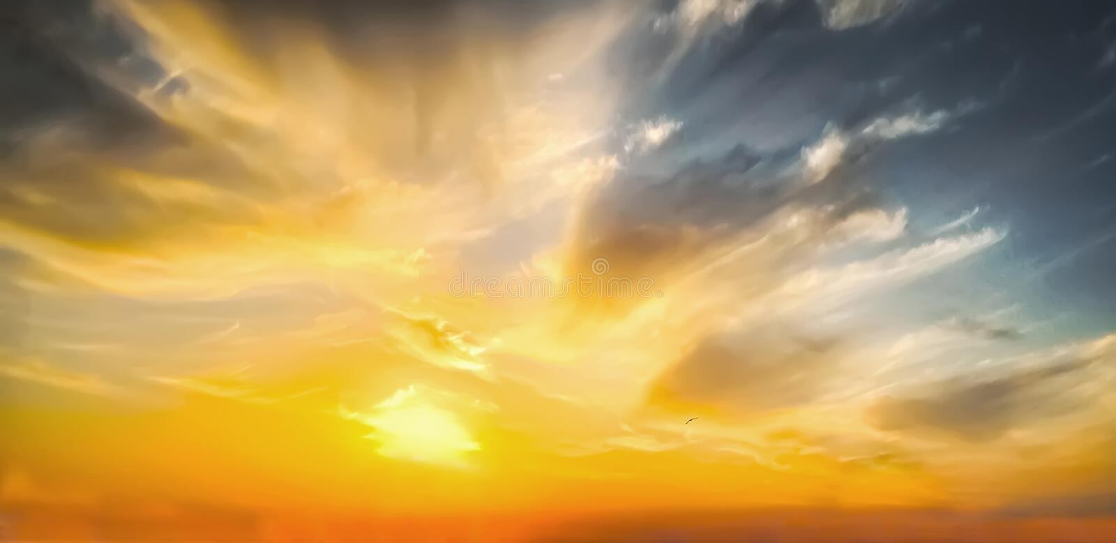 Beautiful epic sunset. Dramatic sunset sky with clouds for background stock photo