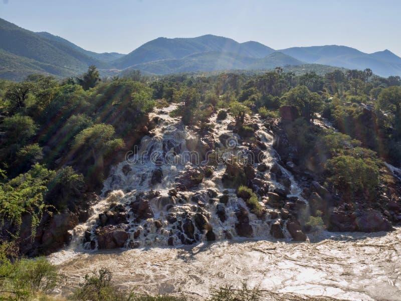 Beautiful Epupa falls on the Kunene River, Namibia. The Beautiful Epupa falls on the Kunene River, Namibia stock images