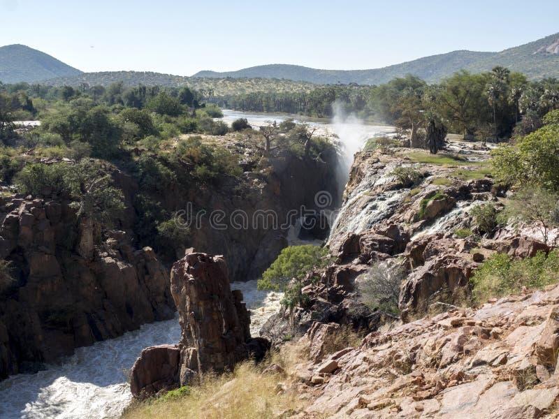 Beautiful Epupa falls on the Kunene River, Namibia. The Beautiful Epupa falls on the Kunene River, Namibia royalty free stock photos