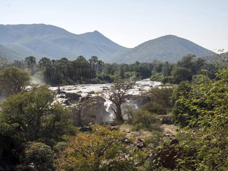 Beautiful Epupa falls on the Kunene River, Namibia. The Beautiful Epupa falls on the Kunene River, Namibia stock photography