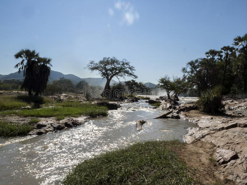 Beautiful Epupa falls on the Kunene River, Namibia. The Beautiful Epupa falls on the Kunene River, Namibia stock image