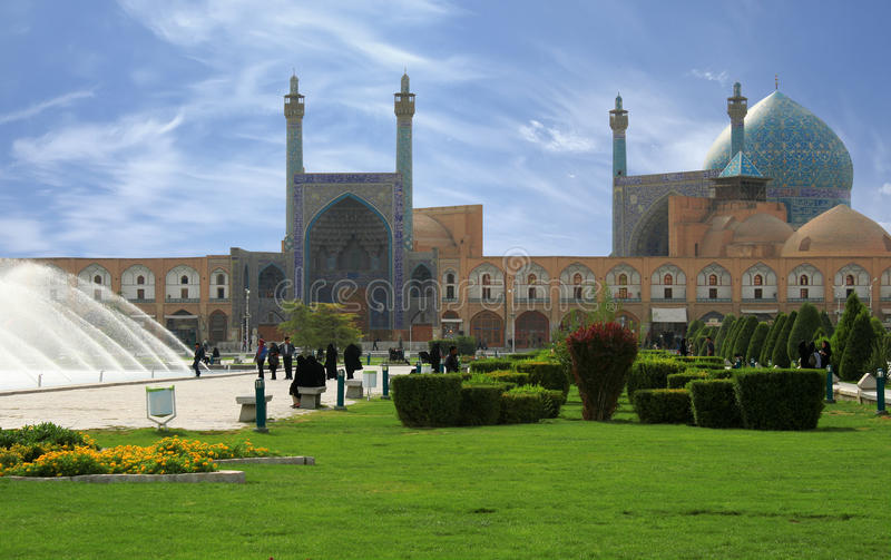 Beautiful Esfahan mosque, Iran, path included. Beautiful Esfahan mosque in Iran. It is situated on a very famous Naqsh-i Jahan Square royalty free stock photography