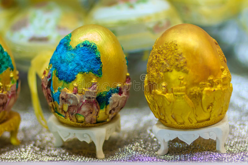 Beautiful Ester egg with Thai pattern. Handwriting inscription H royalty free stock image