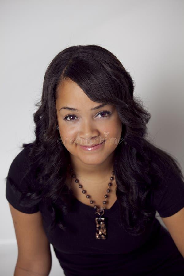 Beautiful ethnic woman closeup portrait royalty free stock photo