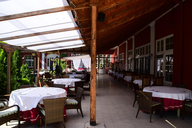 Beautiful European terrace of the restaurant, empty. A beautiful European terrace of the restaurant, empty royalty free stock images