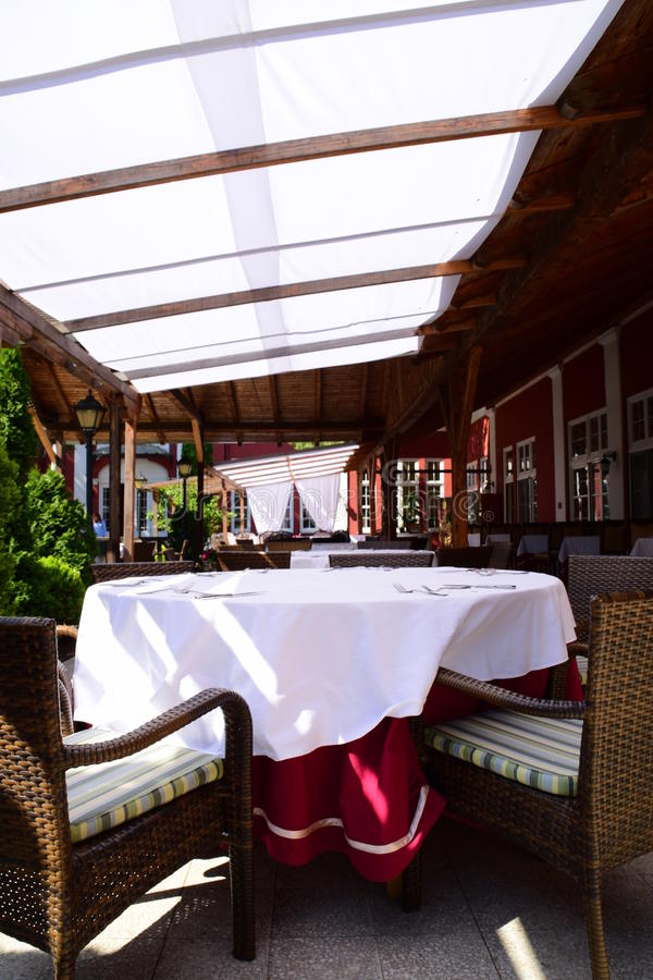 Beautiful European terrace of the restaurant, empty. A beautiful European terrace of the restaurant, empty royalty free stock photography