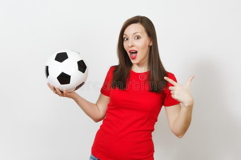 Beautiful European young people, football fan or player on white background. Sport, play, health, healthy lifestyle concept. stock photography
