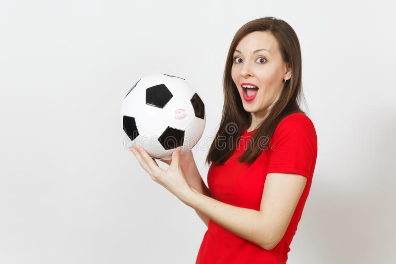 Beautiful European young people, football fan or player on white background. Sport, play, health, healthy lifestyle concept. royalty free stock photography