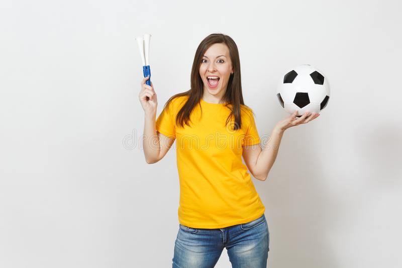 Beautiful European young people, football fan or player on white background. Sport, play, health, healthy lifestyle concept. stock images