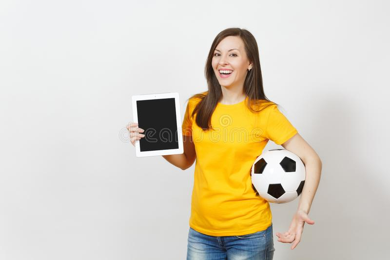 Beautiful European young people, football fan or player on white background. Sport, play, health, healthy lifestyle concept. stock photo