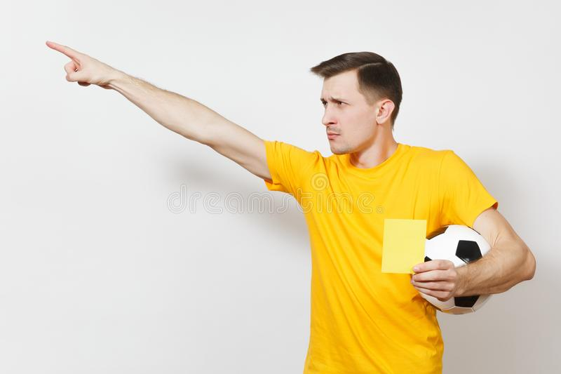 Beautiful European young people, football fan or player on white background. Sport, play, health, healthy lifestyle concept. royalty free stock photos