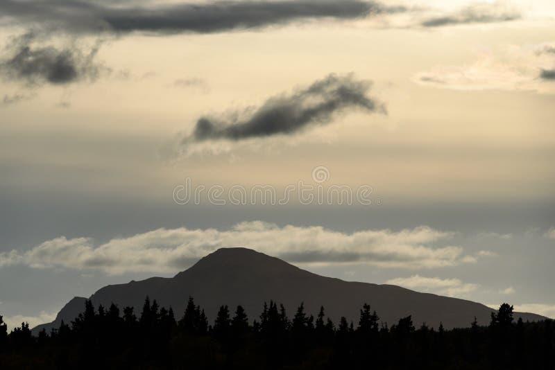 Beautiful evening light with dramatic cloudy sky, tree line in silhouette, mountain profile, Katmai National Park, Alaska, USA stock photography