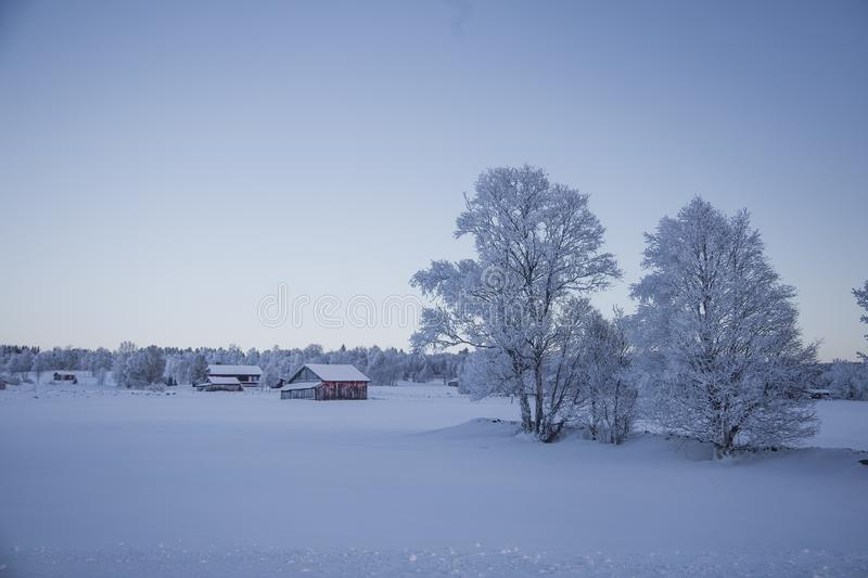 A beautiful evening scenery of a small Norwegian town Roros in winter. Sunset scenery in Norway. stock photography