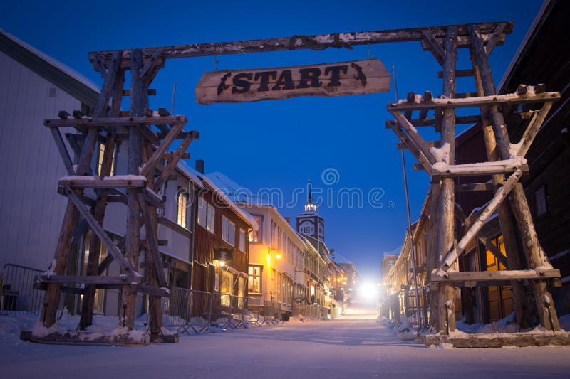 A beautiful evening scenery of a small Norwegian town Roros in winter. Sunset scenery in Norway. royalty free stock photos