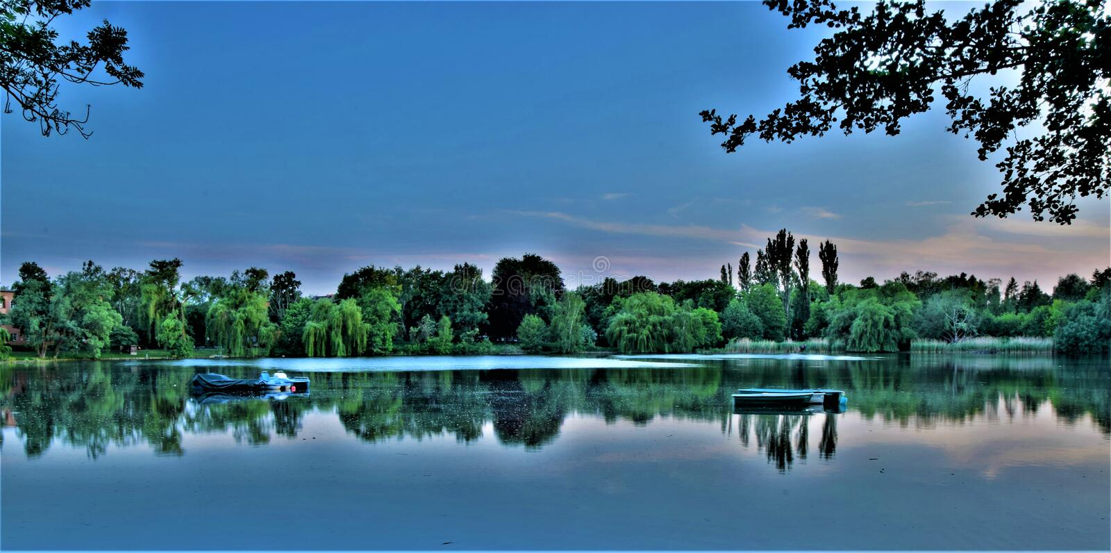 Beautiful evening view at the lake royalty free stock image