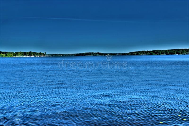 Beautiful evening view at the lake royalty free stock photos