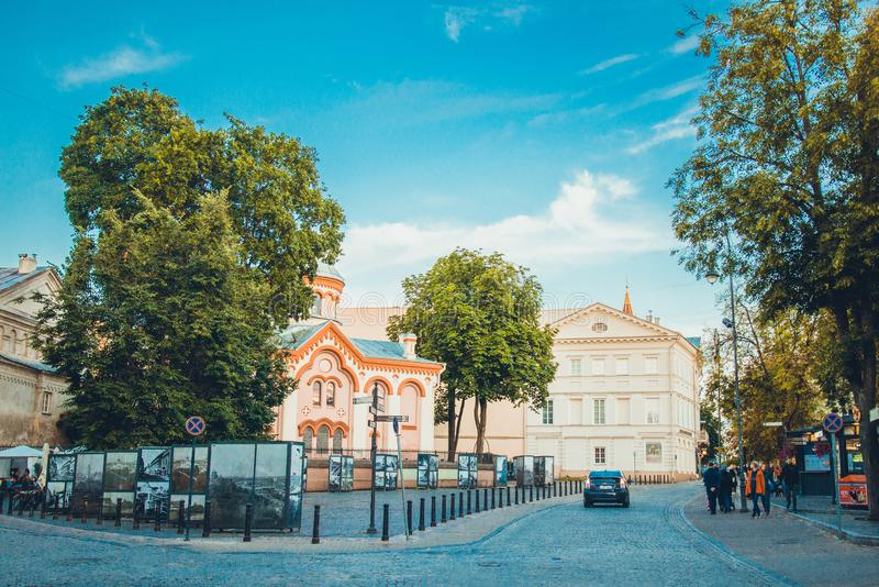 Beautiful evening in Vilnius old city royalty free stock photography