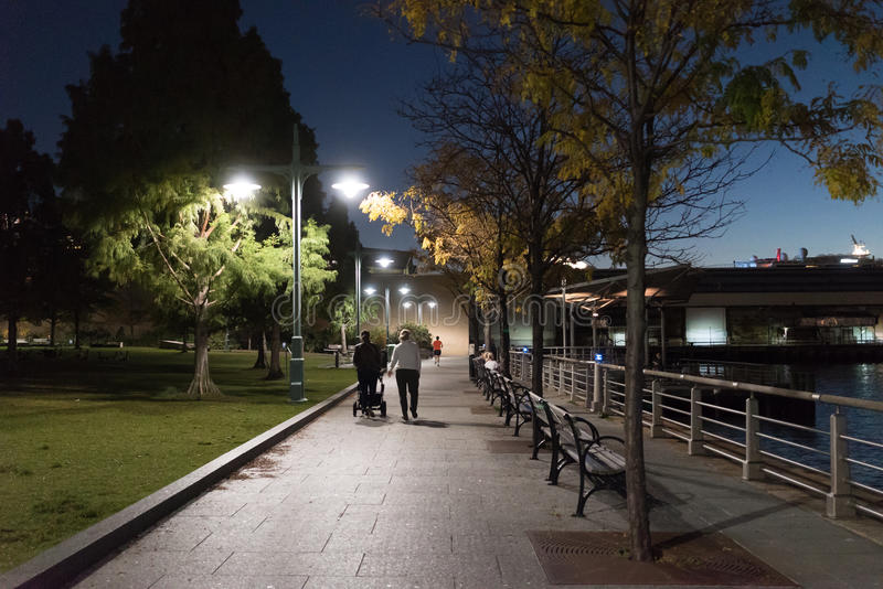 Beautiful Fall Evening for a Walk By The River stock image
