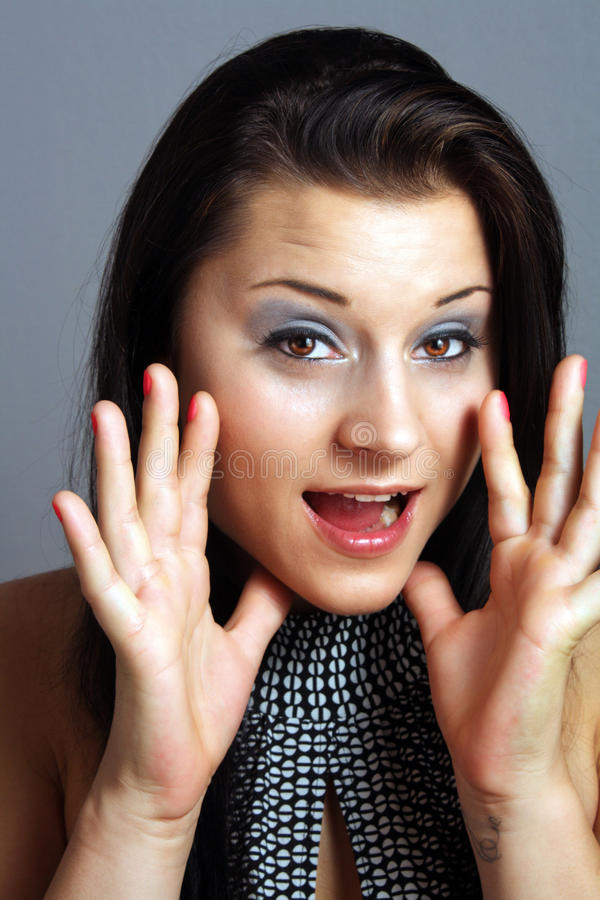 Download Beautiful Excited Talkative Brunette (2) Stock Image - Image of makeup, human: 20677595