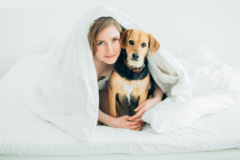 Beautiful excited young woman and her cute cur dog are fool around, looking at camera while lying covered with a blanket in bed. stock photo