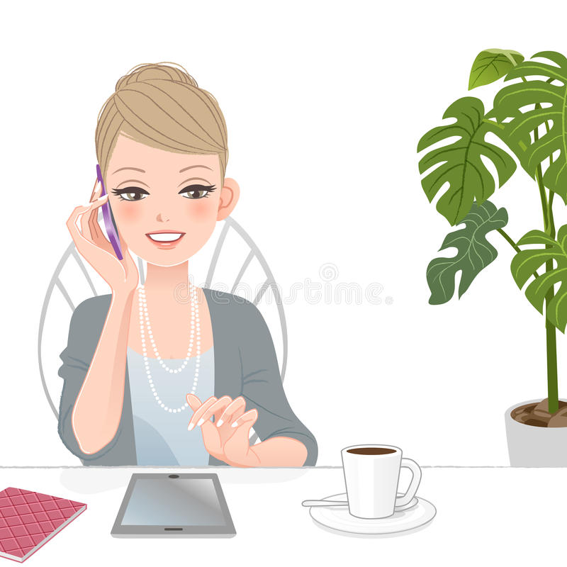 Beautiful executive woman talking on the phone with touch pad royalty free illustration