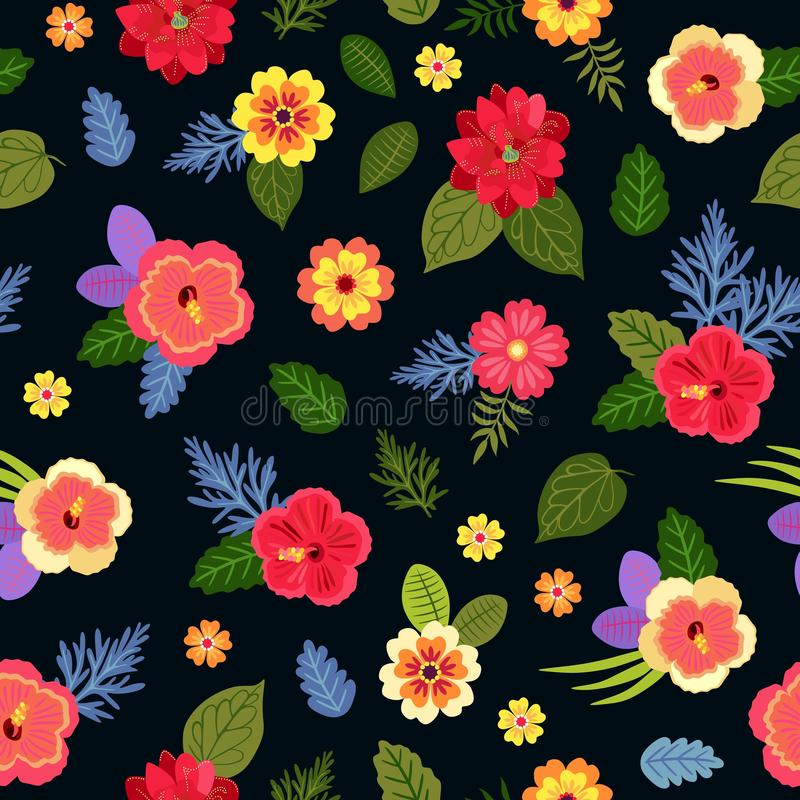 Beautiful exotic flowers isolated on black background. Seamless ditsy floral pattern with bright tropical plants.  stock illustration