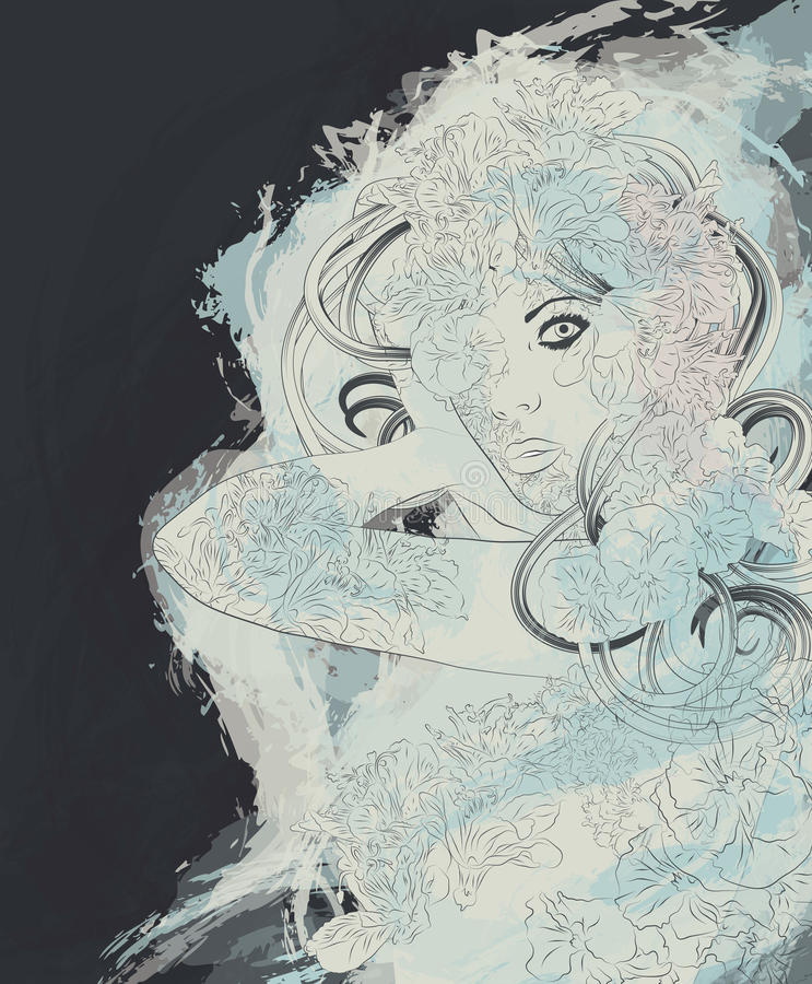 Beautiful exotic mystic nymph woman royalty free illustration